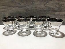 8 Vintage Dorothy Thorpe Silver Rimmed 3oz Double Shot Glasses
