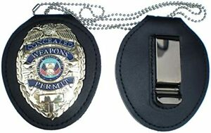 Recessed BADGE CLIP + NECK CHAIN HOLDER for CONCEALED CARRY PERMIT CCW