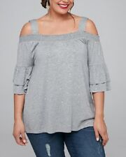Grey Cold Shoulder & Ruffled 3/4 Sleeve Tunic/Top Size 20 or M RRP $89.95