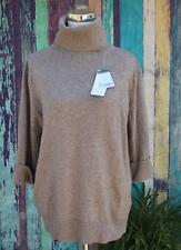 Woolovers Merino Wool Cashmere Slouchy Sweater L Turtleneck Light Brown NWT