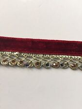 ATTRACTIVE BRAIDED MAROON VALOUR & GOLD,MIRRORS,CRYSTALS LACE TRIM -SOLD by MTR