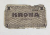 1941 Iceland One Krona Note Fyrir Rikissjod Islands Paper Money Currency
