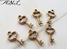 50 Skeleton Key Charms Antiqued Gold Heart Keys Miniature Tiny BULK Lot