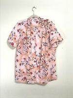 Bentley Women's Plus Size 1X Top Shirt Blouse Pink Floral Business Career Church