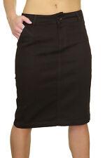 "Womens Jeans Skirt 23"" Knee Length Stretch Dark Brown Size 8"