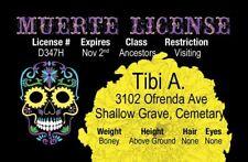 DAY OF THE DEAD el Dia de Los Muertos Halloween costume id card Drivers License