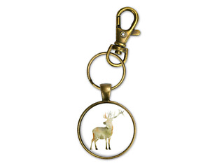 Woodland Theme Deer Bronze Key Chain Ring Clip Mens Masculine New Fathers Day