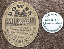 Irtp Downs Arf & Arf Beer And Ball Tap Label Van Buren Products Co. Buffalo, Ny