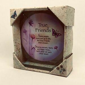 True Friends Poem Cut Glass Round Plaque Special Keepsake Gift, Birthday