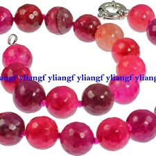10mm Faceted Pink Red Dragon Veins Agate Gemstone Round Beads Necklace 18''