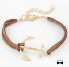 Mr Pefe Leather Anchor Bracelet - Brown - Anker Heren Armband