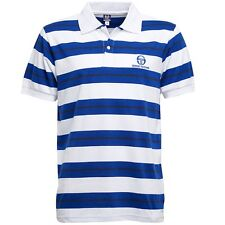 SERGIO TACCHINI MENS EALING MULTI STRIPE POLO WHITE/BLUE/BLACK – SMALL - BNWT