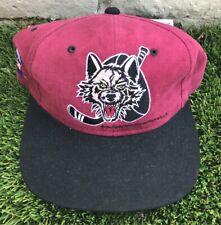 Vintage Chicago Wolves Snapback Hat Cap IHL Hockey Black Burgundy 1994 Covee