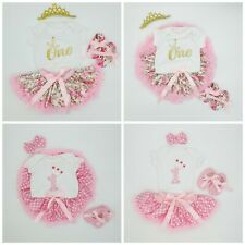 Baby Girls 1st Birthday Outfit Princess First Dress Tutu Skirt Set Pink Age 1 UK