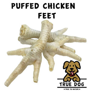 Puffed Chicken Feet Chew Treats | Low Odour 100% Natural Dog Treats, Non Greasy