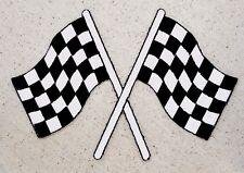 "XL 6"" Racing Flags - Checkered/Crossed - Iron on Applique/Embroidered Patch"