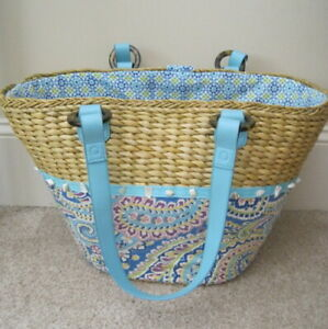 Vera Bradley Lined Straw Beach X Large Tote Bag with Shells