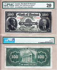 Rare Large Size 1923 $100 Bank of Montreal Chartered. PMG Certified VF20