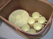 Vtg Hawkeye Burlington Large Picnic Basket w/ Original Sticker & Yellow Dishes