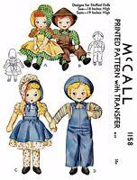 "McCall 1158 Stuffed DOLL Sewing Pattern Sunbonnet Sue 18"" & Sam 19"" Vintage"