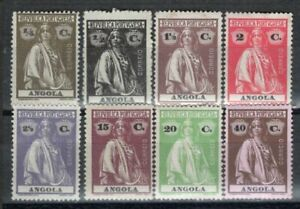 ANGOLA PORTUGAL 1914 EIGHT STAMPS MH PERF: 15x14