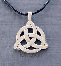 """Men Surfer Choker Celtic knot Pendant Necklace Black Waxen cord  18 1/2"""" s179"""