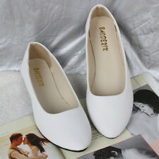 Womens Suede Flat Pumps Ladies Ballet Ballerina Dolly Shoes Bridal Work Shoes SZ