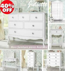White Bedroom Furniture French Chest of Drawers Bed Wardrobe Juliette ShabbyChic