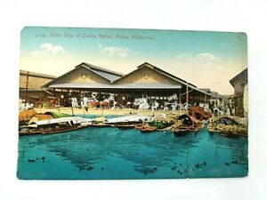Vintage Postcard River View of Quinla Market Manila Philippines