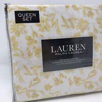 Lauren Ralph Lauren Queen Sheet Set Floral Yellow Flowers White 100% Cotton