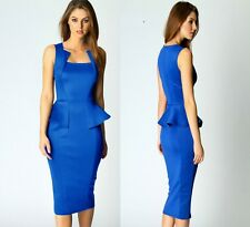 Sz 10 12 Sleeveless Blue Peplum Sexy Formal Cocktail Party Club Slim Midi Dress