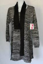 NEW Womens Sweater Dress Size Small Black Gray with Scarf Knee Length Knit Tunic