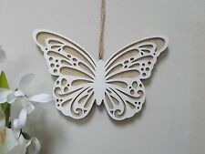 Wooden Hanging Butterfly Ornament with cut out detail-  17.5 x 13 cm - White
