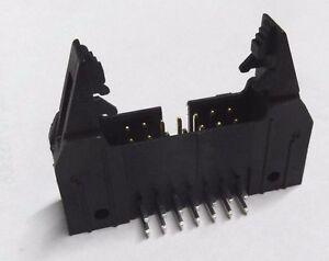 10 x Molex 14 way right angle IDC latched header PCB plug