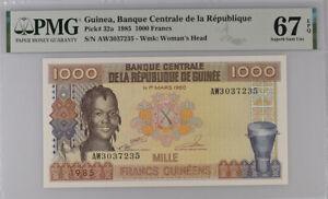 Guinea 1000 Francs 1985 P 32 a Superb Gem UNC PMG 67 EPQ Top Pop