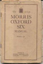 MORRIS Oxford sei 15HP Manuale Originale (manuale) 1930 Inc ricambi prezzi