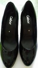 GABOR Black Patent Court Shoes Size 4 Immaculate