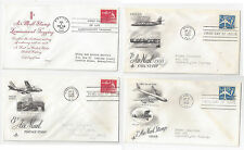 C51 C52 C64 C64a Air Mail FDC s 4 Different Cacheted First Day Covers 1 tagged
