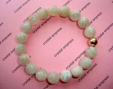 FENG SHUI - 12MM MOONSTONE MALA BRACELET WITH GOLD BEAD