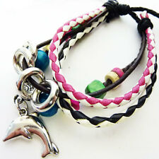 Real Leather Dolphin Charm Bead Wristband Bracelet Pirate Jack Sparrow WB48