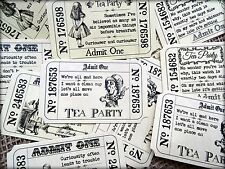 12  Alice In Wonderland Themed Tea Party 'Admit One' Tickets