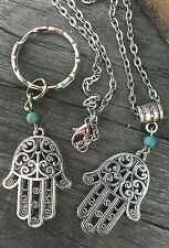 SILVER HAMSA HAND OF FATIMA NECKLACE & KEYRING SET PENDANT CHARM TURQUOISE BEAD