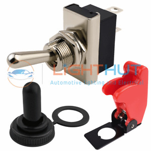 12V 25A On Off Toggle Switch Waterproof / Aircraft Style Cover Lucar Terminals