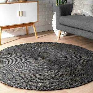 Jute Rug 100% Natural Black Handmade Area Carpet Modern Area Rug Rustic Look Rug