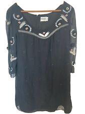 ALICE by TEMPERLEY Black Silk Coral Embellished Dress UK 12