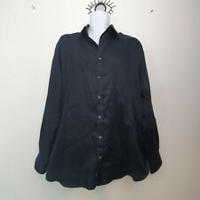 "Marks & Spencer 17"" Collar Mens Black Smart Shirt Formal Long Sleeve Cotton and"