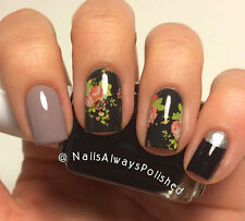 Pink Red Roses Green Leaves Black BG Water Transfer Nail Art Stickers Decals
