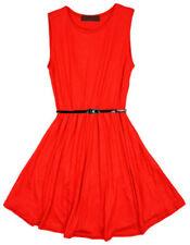 Vestidos de niña de 2 a 16 años de color principal rojo sin mangas