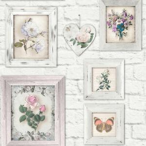 2 Rolls Of Brick Floral Frames Fresco Wallpaper White, Graham & Brown Same Batch