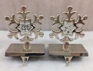 "Snowflakes Christmas Stocking Hangers set of 2 silver tone 6""H"